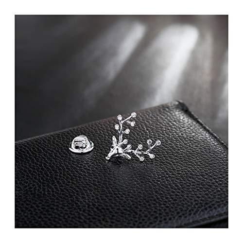 hongbanlemp Lindo Broche Brillante Cristal Brillante, broches de la Vendimia para Las Mujeres Pin Lucky Elk para Mujeres Unisex (Plata/Oro) (Color : A)