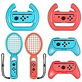 eSynic 3 en 1 Raqueta de Tenis, Volante, Empuñadura, para Switch Accesorios Joy-Con para Mario Tennis Aces Juego Juego de Manijas para Controlador de Juegos para Switch Joy-Con