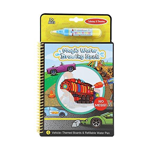 Libro di disegno portatile del disegno del libro magico dell'acqua dell'acquerello con riutilizzabile Acqua penna colorazione arte impostazione regalo educativo giocattolo per bambini(Vehicle)