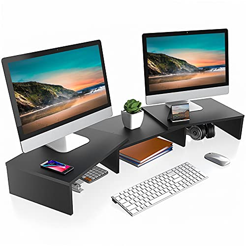 FITUEYES Dual Monitor Stand – 3 Shelf Computer Monitor Riser, Wood Desktop Stand with Adjustable Length and Angle, Desk Accessories, Office Supplies