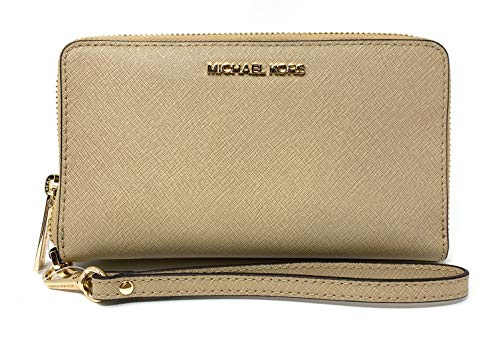 Michael Kors Jet Set Travel Zip Around Multifunction Phone Case/Holder Wristlet (Bisque)