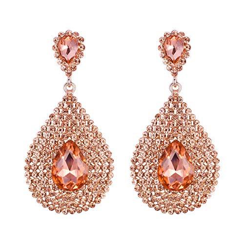 EVER FAITH Mujer Cristal Austríaco Fashion Moda Lágrima Boda Perforado Pendientes Colgante Color Champagne Tono Oro Rosado
