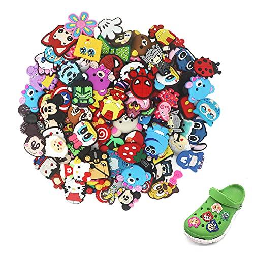 Schuh Charme, 50 Stück PVC Schuh Charms Karikatur Schuhe Charms, Verschiedene Schuh-Charms Passend für Schuhe, Dekorationen, Armbänder, Party-Geschenk