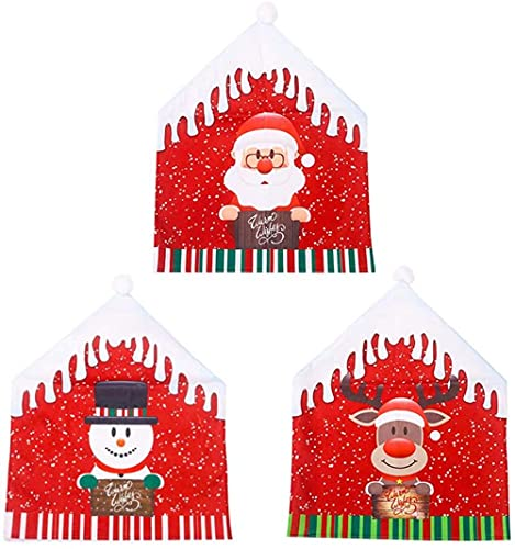 HUIHUIGE 6 stücke Weihnachtsstuhl Slip Covers Esszimmerstuhlabdeckungen Party Red Hut Back Covers Weihnachten Esszimmerstühle Dekor Gorgeous