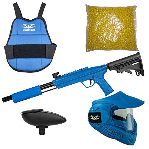 Valken Kinder Kids Tactical Gotcha Gun inkl. MI-3 Maske, Brustpanzer, Loader 120 und 500 Paintballs-Cal. 50, 0.5 J-blau Markierer Set, M