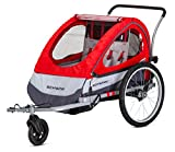 Schwinn Trailblazer Child Bike Trailer, Double Baby Carrier, Canopy, 16--inch Wheels, Red