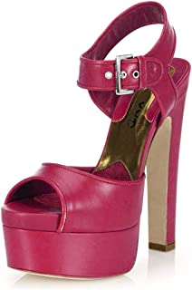 Club Chunky High Heel Platform Sandals Peep Toe Slingback Shoes Wide Ankle Strap Sexy Pumps