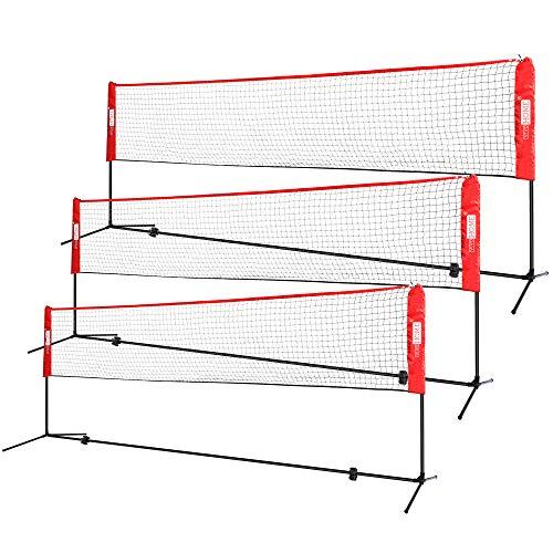 VIVOHOME Vivhome Tragbares Badminton-Netz mit Ständer und Tragetasche für Volleyball, Fußball, Tennis, Pickleball, 3 m, 10ft