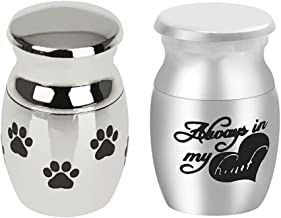 milageto 2 Piezas Mini Recuerdo Urna Miniatura Funeral Cremación Urna Pet Ashes Holder - Patrón corazón + Huellas