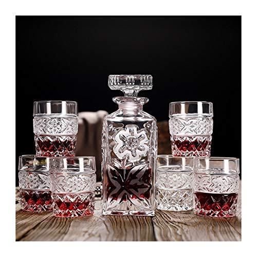 YGLONG Copas De Vino Botella Tallada de Cristal de Whisky de Cristal Copa y Jarra del Vino Home Bar Party Hotel Vasos Set Boda Copa de Vino del Vidrio Regalo y Copa Copas De Vino Tinto (Size : A1)