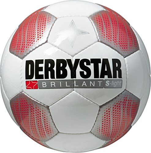 Derbystar Kinder Fussball Brillant Super Light, Weiss/Rot/Schwarz
