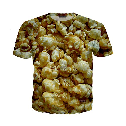 Camiseta de Palomitas de maíz de Verano para Hombres y Mujeres, Sudadera de maíz con Estampado 3D, Ropa de Calle de Manga Corta, pulóver 2 Asia 3XL