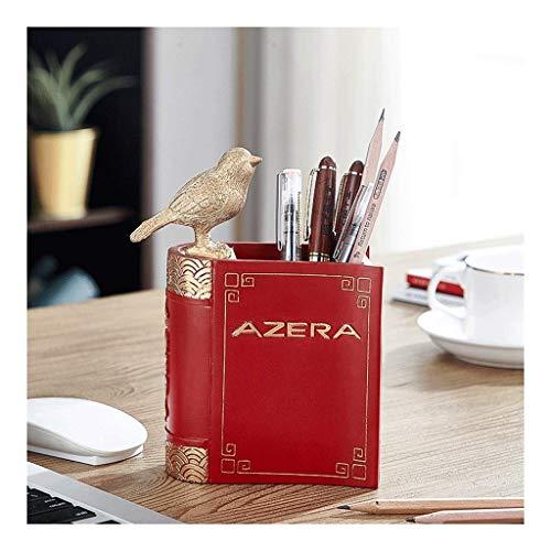 Portalápices QWEA en lenguaje de pájaros, organizador de escritorio decorativo de resina sintética, material de oficina, portalápices, organizador de papelería, color: rojo