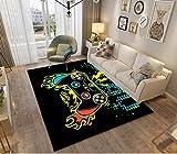 3D Gamer Alfombras Dormitorio Juvenil Chico Chica Infantiles Niño Adulto Juegos Video Alfombras De Habitacion Rectangular Lavables Pelo Corto Grandes Pequeñas Alfombras Salon (Negro e,80x120 cm)