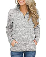 Women's Loose Fit Quarter Zip Up lapel Sweatshirt Long Sleeve Casual Tunic Pullover Tops With Pockets LightGray L