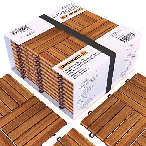 INTERBUILD baldosas de madera Acacia Losas de terraza para jardín balcón terraza spa o deck 30 x 30 cm - 0,9 m2 por PACK Color teca dorado