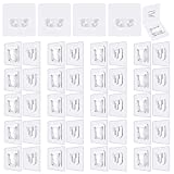 Double-Sided Adhesive Wall Hooks|20 Pairs Double-Sided Hooks+4 Pairs Plug Holder|13.2lb/6kg(Max) Self-Adhesive Hooks| Transparent Wall Hooks for Hanging, Waterproof and Oil-Proof