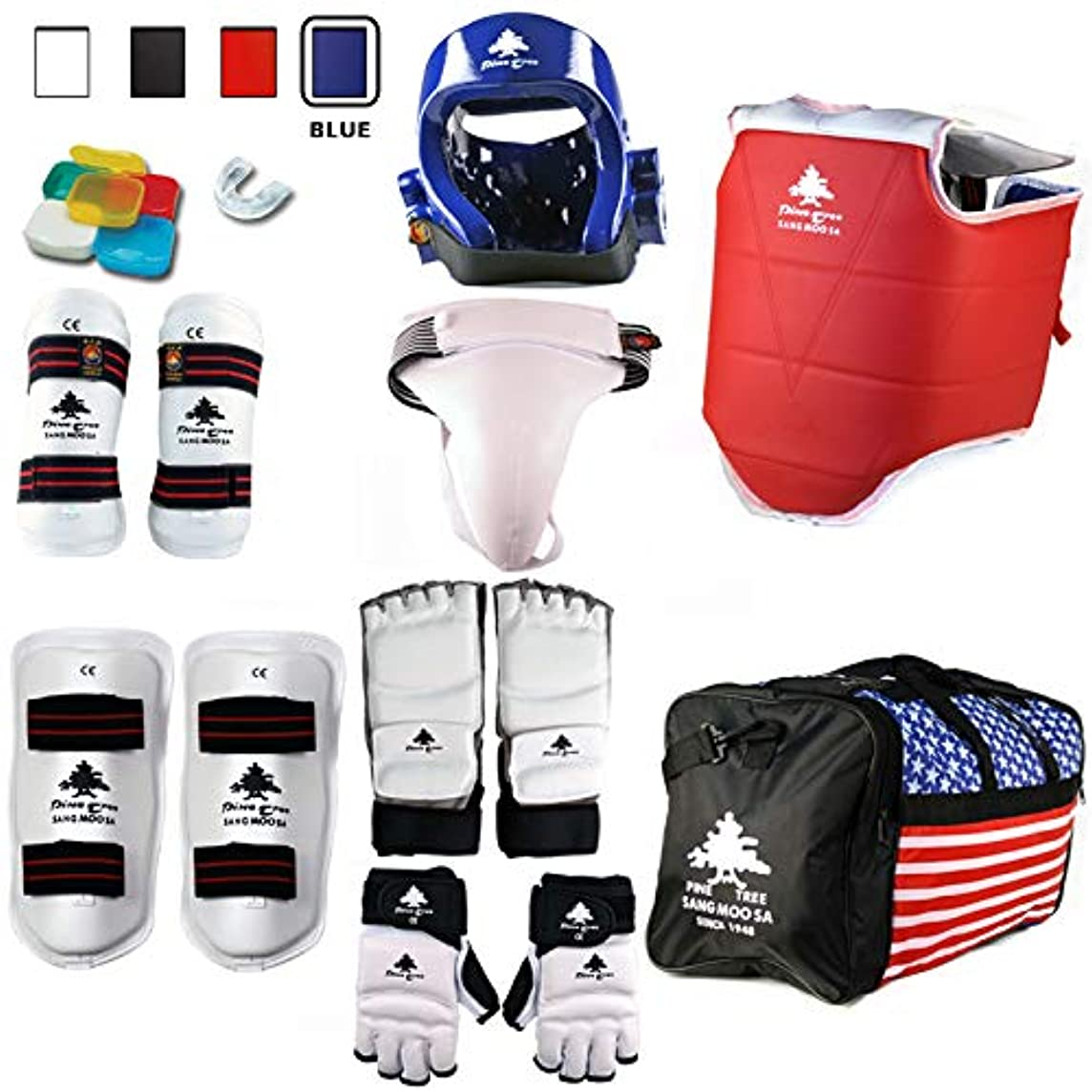 Pine Tree Complete Vinyl MMA, Taekwondo, Karate Sparring Gear Set with Bag, Shin, Hand, Foot, Groin Guard