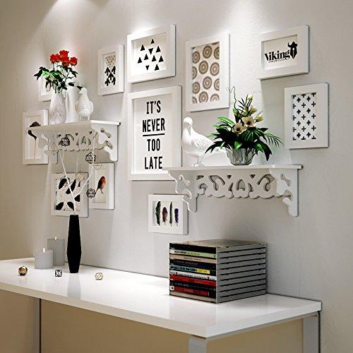 HJKY Foto Rahmen Wand Set Europäische einfache Massivholz Foto Wand Hintergrund schwarz und weiß kreative Trennwand Regale Rahmen Wand Wand Nordic modernen minimalistischen Wind, alle weiß