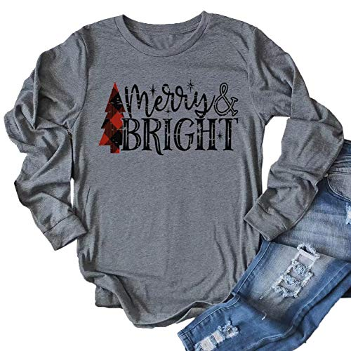 JINTING Merry and Bright Shirts Women Long Sleeve Sleeve Merry Christmas Graphic Print Tee Shirts Tops Blouse Plus Size Size L (Gray)