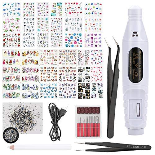 Adesivi Unghie,Kapmore adesivi per unghie Nail Art,Decalcomania Trasferimento ad Acqua 3D Nail Stickers Water Decals Fai da Te,con manicure pedicure elettrico|Unghie Strass|Strass Selettor|2 Pinzette