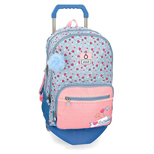 Mochila Doble Compartimento con Carro Enso love sweets  46 cm  Multicolor