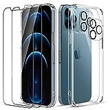 LK Custodia Posteriore Vetro Compatibile con iPhone 12 PRO Max 5G 6.7 Pollici, 2 Pezzi Pellicola Protettiva in Vetro Temperato & 2 Pezzi Pellicola Fotocamera, Protezione Cover-Trasparente