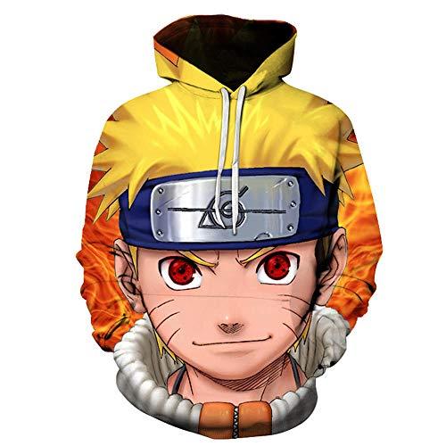 cyxb Hoodie Capucha para Hombre,Sudadera con Capucha Unisex Street Clothing Sudadera con Capucha Anime Naruto Series Sudadera con Estampado Sudadera con Capucha Pullover-por QUÉ-1_XS