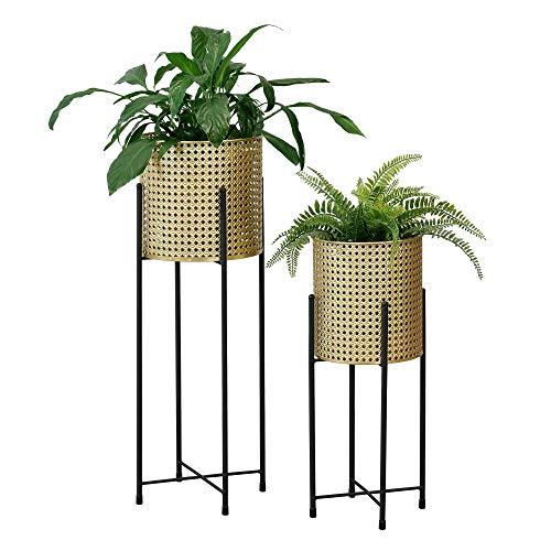 [en.casa] Pflanzständer im 2er Set Blumenständer aus Metall Blumentopf Ständer mit Übertopf Blumentopfhalter 2-TLG. Pflanztopf Deko Schwarz-Goldfarben