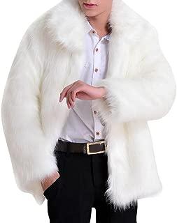 Men Long Sleeve Faux Fur Jacket Luxury Outwear Coat