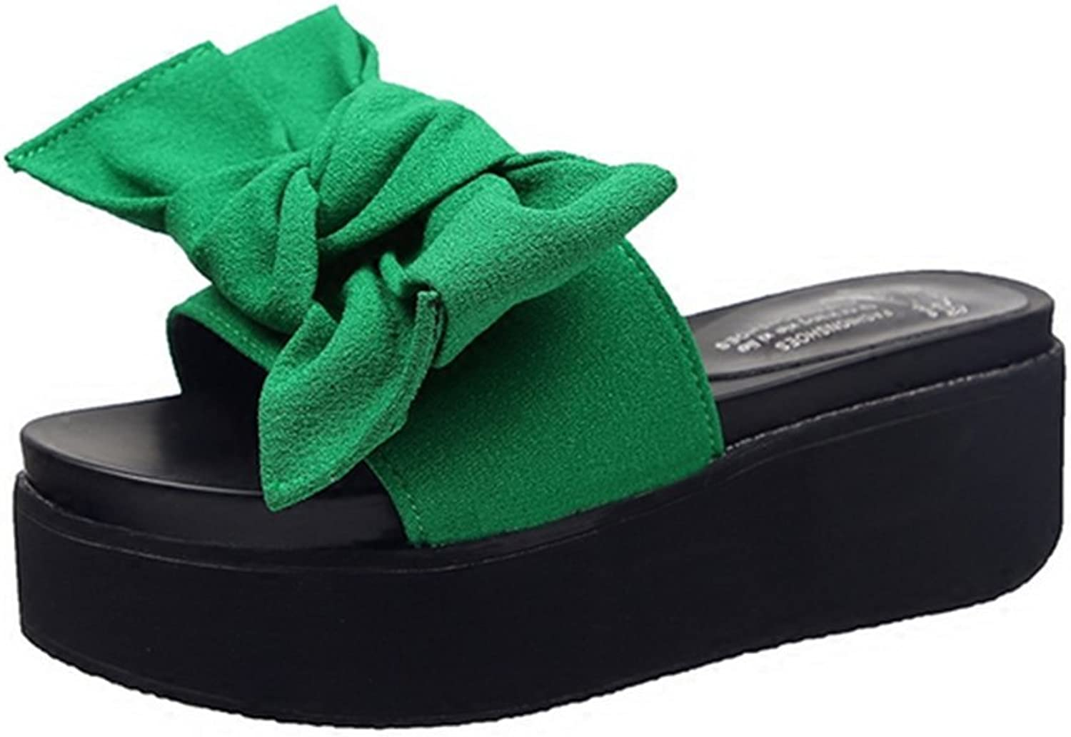 Weiwei Women's Summer Cool Slippers, Bow Slippers, Fashion High Heels, Slippers