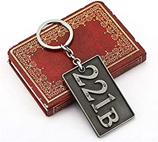 Value-Smart-Toys - Classic TV series Sherlock Holmes 221b Keychain Alloy Logo Silver 7cm Metal Key chain Keyring for fans movie jewelry HF11764