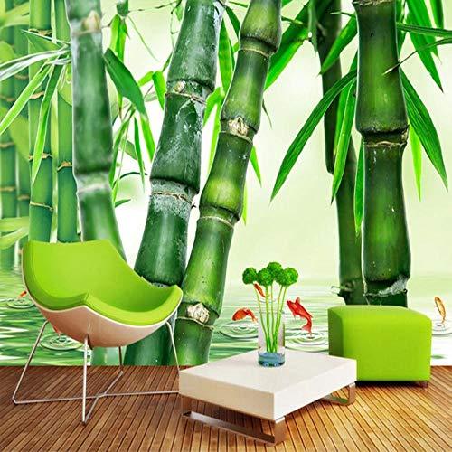 Papel de pared Paisaje natural de bosque de bambú verde 3D Efecto Fotomurales tejido no tejido Moderna Póster Salón Dormitorio Decoración Murales-450x300cm