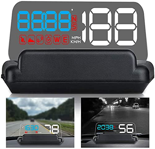 """5.5"""" HD Universal Car HUD Head Up Display Digital GPS Speedometer Windshield Projector with MPH Speed Alert Voltage Alarm Distance Direction for All Cars Truck Motorcycle ATV Pick-up Scooter Golf Cart"""