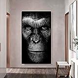 wZUN Póster Animal Pared Arte Negro Gorila Lienzo Pintura Carteles e Impresiones Sala de Estar decoración del hogar Pintura de Pared 60x100 Sin Marco