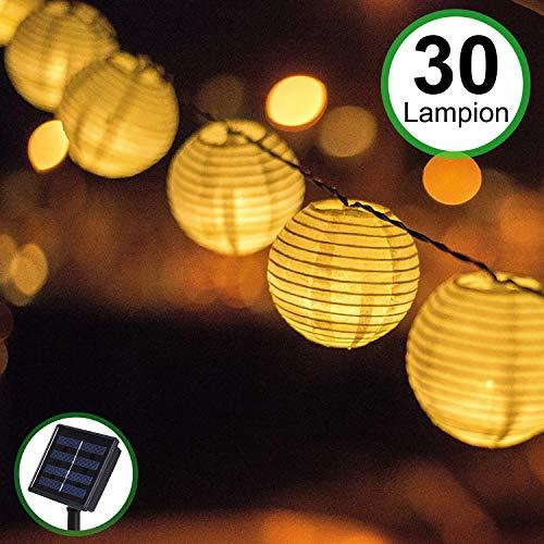 Solar Outdoor Lichterkette Bawoo 30er 5.5m Led Lampion Laterne Lichterkette Außen Warmweiß Solarbetrieben Wasserdicht Dekoration für Garten Terrasse Hof usw.