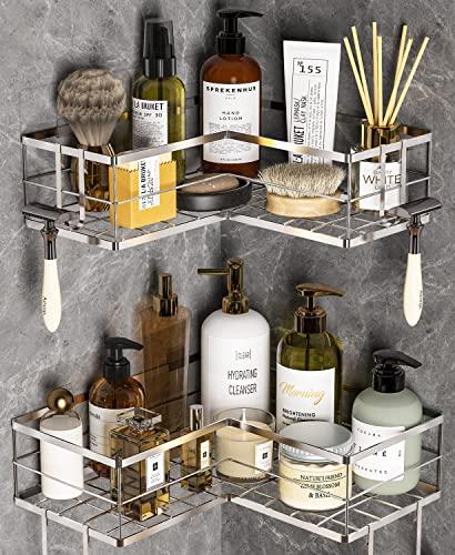 Corner Shower Caddy Basket Shelf, 2 Pack Bathroom Caddy Organizer with 8 Hooks, Drill Free Adhesive Storage Organizer, Rustproof Shampoo Holder, Silver
