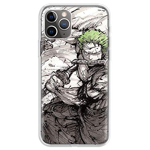 KOUHANGYU One Piece Roronoa Zoro iPhone Case Soft Clear Silicone TPU Phone Cover iPhone 5 5S SE Case SU048-10