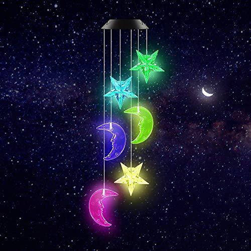 Carillón De Viento Solar LED, Luces Solares De Luna Y Estrella Que Cambian De Color Para El Hogar, Jardín, Patio, Balcón, Decoración Y Regalos Para El Día De La Madre, Ramadán, Navidad