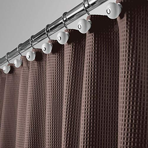 """mDesign Long, Polyester/Cotton Blend Machine Washable Fabric Shower Curtain with Waffle Weave and Rust-Resistant Metal Grommets for Bathroom Showers and Bathtubs, 72"""" x 84"""" - Chocolate Brown"""