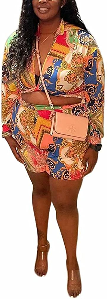 Women Plus Size Sexy Two Piece Outfits Shirts Chain Print Self T