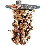 Designer Wurzelholz Tisch mit Glasplatte Ø 60cm   Wurzeltisch aus echtem Teakholz   Couchtisch Wurzelholz Glas massiv gebaut   Teak Holz aus nachhaltigem Anbau   Akzente setzen mit dem Teakholz Tisch - 3