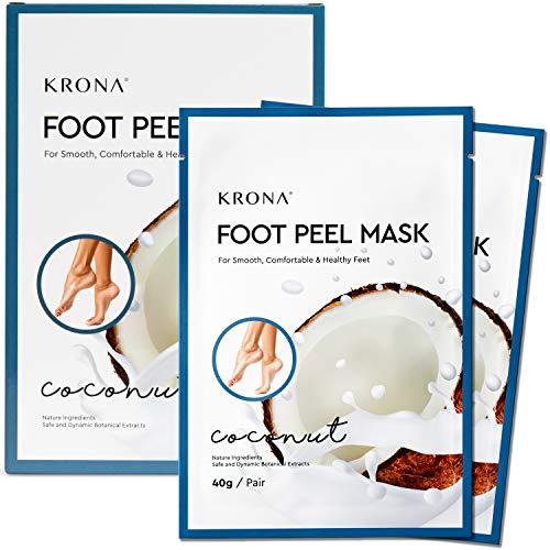 Foot Peel Mask (Coconut) - Exfoliating Dry & Dead Skin - Repair Rough Cracked Heels - Callus Remover & Natural Exfoliator - Safe & Natural - Perfect Foot Mask For Men & Women, 2 Packs