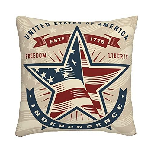 Mxswru Funda de cojín cuadrada decorativa de terciopelo con diseño de bandera de la línea roja americana, funda de almohada de 45,7 x 45,7 cm, para sofá cama, sofá con cremallera invisible