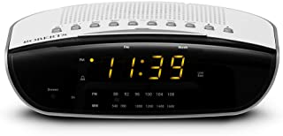 Roberts Radio CR9971 Chronologic Vi Dual Alarm Clock Radio with Instant Time Set, Amber Display - White