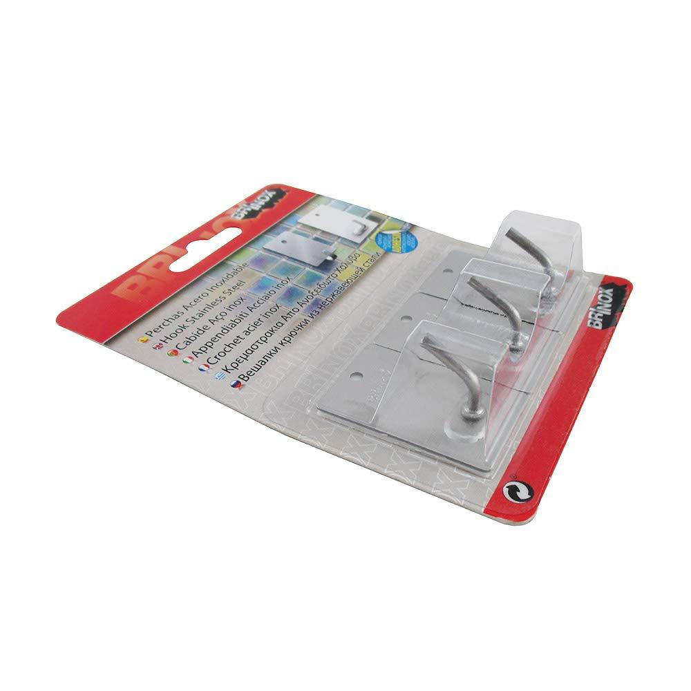 2.6x4.3x2.1 cm Brinox B70260E Percha Mediana Adhesiva Acero Inoxidable