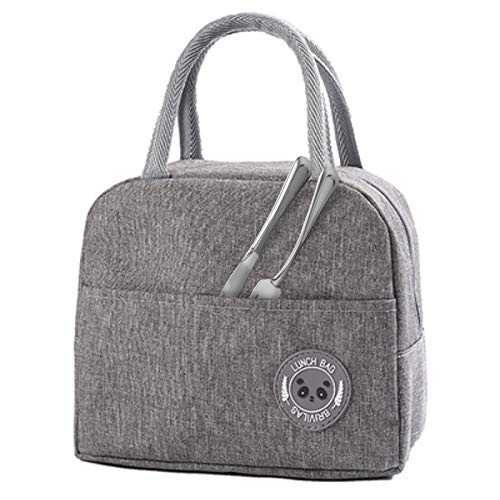 Litlandstar Insulated Lunch Bag Tote Bag, Lunch Bags Waterproof Oxford Cloth Foldable Picnic Handbag Leak-Proof Lunch Organizer with Front Pocket Zipper Closure for Women, Adults, Students(Grey)