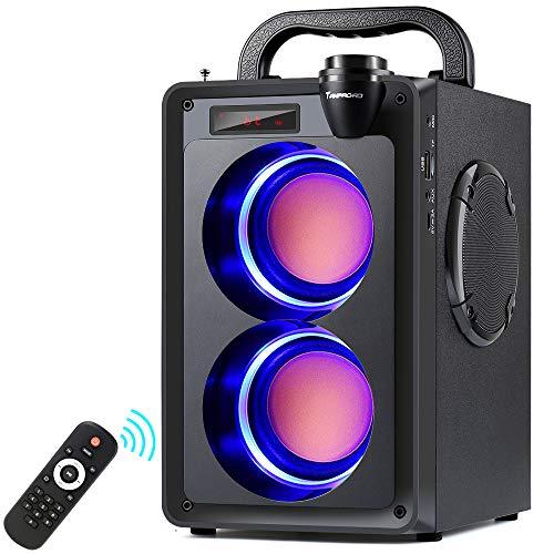 20W Bluetooth Lautsprecher, A20 Tragbarer Musikbox, mit Subwoofer, FM Radio, LED Leuchten, EQ, 30 Meter Reichweite, Bluetooth 5.0 Wireless Stereo Lautsprecher für Außen und Innenpartys