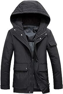iOPQO Mens Winter Vintage Faux Leather Long Sleeve Multi Pocket Military Zip Up Jacket Hooded Coat