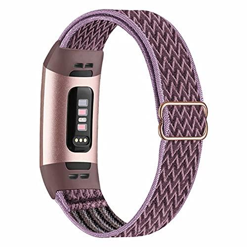 Fengyiyuda Elástico Nylon Correa de Reloj Compatible con Correa Fitbit Charge 3/4,Bandas para Relojes Inteligentes,Hebillas Ajustables,correas de repuesto para Fitbit Charge 3/4,Smokey Mauve